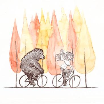 Ilustración paseo en bici